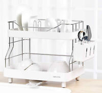 Naturnic Dish Rack Set, 2 Tier Dish Drainer High grade Stainless Steel 204+ABS