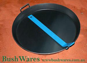 Australian made blue steel frying pan spun 400mm folding handle campfire stove