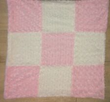 Blankets & And Beyond Baby Blanket Pink White Swirl Minky Plush Squares Lovey B