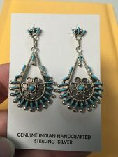 Native American Zuni Sterling Needle Point Turquoise Earrings Philander Gia  #2