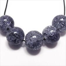 Lot de 10 Perles Craquelées en verre 12mm Noir Bleu