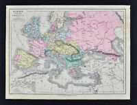 1885 Drioux Map - Europe 1815-1866 - Napoleon France Spain Italy Germany Britain