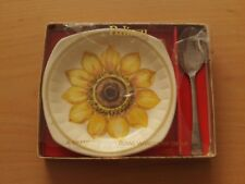 VINTAGE ROYAL WORCESTER PALISSY SUNFLOWER JAM /PRESERVE DISH & SPOON SET 1970'S