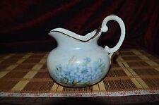 "Ceramic Creamer Pitcher Blue Floral w/ Gold Trim 5 3/4""x5 3/8"" Signed"