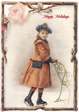 Antique Holiday Art~Pretty Girl on Ice Skates~Sled~Pink Rose~New Lge Note Cards
