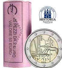 25 x Italien 2 Euro Münze 2009 bfr. Blindenschrift  von Louis Braille Rolle