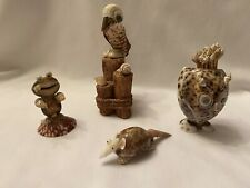 Vintage Seashell Figurines - Four (4)Owl, Frog, Pelican and Anteater
