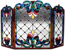 """Stained Glass Chloe Lighting Victorian 3 Panel Folding Fireplace Screen 44"""" New"""