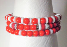 3 Red, white and silver tone stretch bead bracelets