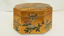 VINTAGE GOLD JEWELRY BOX BIRD FLOWER ENAMEL LACQUER CHINA