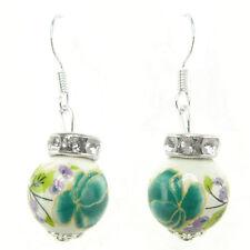Boucles D'oreilles femme Perles Porcelaine fleurs Bleu Vert violettes strass