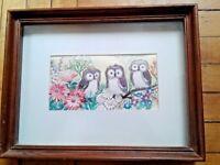 Vintage Patricia Nimocks Decoupage Art Print Finished Framed - Owls Flowers 1972