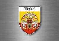 Sticker decal souvenir car coat of arms shield city flag prague czech praha