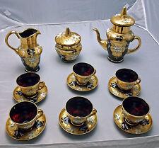 Bohemian Enamel Glass Tea Set Cranberry Teapot Sugar Creamer Tea Cups Saucers