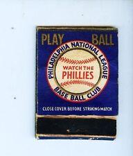 1940 Philadelphia Phillies baseball empty matchbook schedule