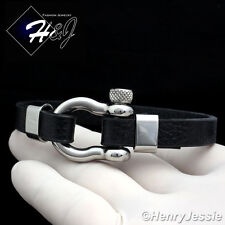 "8""MEN WOMEN Stainless Steel 10mm Silver/Black Horseshoe Design Leather Bracelet"