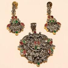779fb4620800 Victoriano Esmeralda Rubí Colgante Pendientes de plata esterlina 925  Joyería Antiguo Inglés