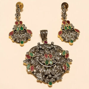Victorian Emerald Ruby Pendant Earrings 925 Sterling Silver English Old Jewelry