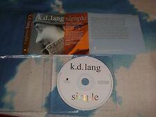 K.D. LANG - SIMPLE UK PROMO CD SINGLE -NEAR MINT AS NEW
