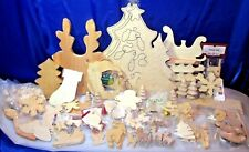 HUGE Mix Lot 131 pcs NEW Ready To Paint WOOD Shapes Christmas Crafts FREE Ship