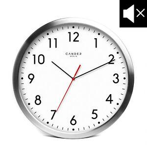 Cander Berlin MNU 2030 Aluminium Wanduhr weiß mit lautlosem Uhrwerk 30,5 cm