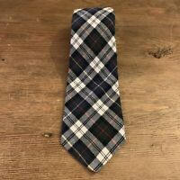 VTG Boston Traders Blue Tartan Plaid Soft Cotton Mens Neck Tie Made in USA