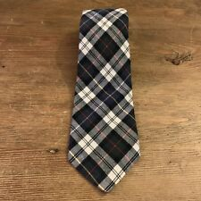 VTG Boston Traders Blue Tartan Plaid Soft Cotton Mens Neck Tie Made in USA