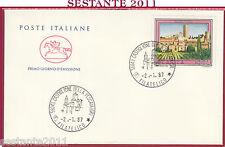 ITALIA FDC CAVALLINO TARQUINIA 1987 FILATELICO CASTIGLIONE DELLA PESCAIA GR Z685
