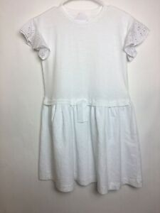 crewcuts Girl's Short Sleeves Dress Size 10 White Color