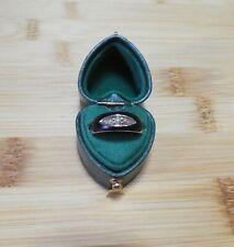Mourning ring 9ct gold black enamel pearls