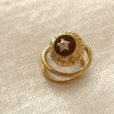 Solid 14k Yellow Gold Victorian Diamond Button Collar Pin