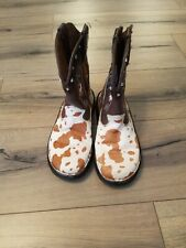 DOUBLE H Womens Cowboy Western Boots 6.5 M Leather Brown Cow Hair Print DH1035