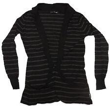 Industrie Womens Dark Blue Long Sleeve Drape Cardigan with Grey Stripes Size 8