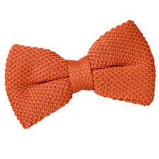 DQT Knit Knitted Plain Solid Burnt Orange Classic Mens Pre-Tied Bow Tie