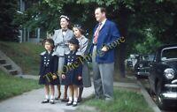 Family Portrait Cars 1950s 35mm Slide Vtg Red Border Kodachrome Sunday Dresses
