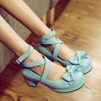 Sweet Womens Girl Chunky Heel Bowknot Lolita Mary jane Cross Strap Shoes