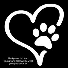 White Paw Print Heart Vinyl Oracal 651 sticker decal for multi-surfaces.