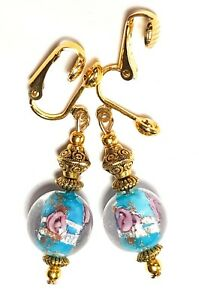 GOLD TURQUOISE PINK CLIP-ON EARRINGS dangle chic unique gypsy chic prom style