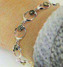 925 Sterling Silver Green Amber Bead Circle Link Bracelet
