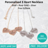 Personalised Engraved Womens Name Date 3 Heart Necklace Rose Gold Silver Giftbox