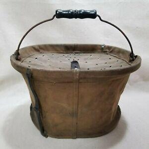 Antique Circa 1900 H.M. Van Deusen Whip Co. Canvas Collapsible Minnow Bucket