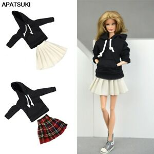 "Black Top Hoodies Sweatshirt Pleated Skirts Clothes for 11.5"" Doll Outfits 1/6"