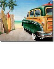 "Retro Woody Surf Surfer Beach Surfing Surfboard Fin Car Metal16"" X 12.5"" Sign"