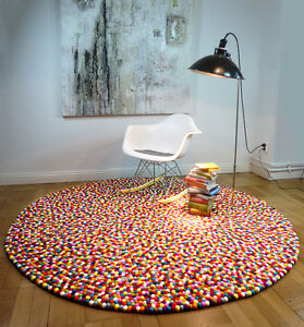 myfelt Lotte 300 cm Stil Design Teppich Filzkugelteppich Filzteppich 100% Wolle