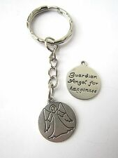 Valentines Day Silver Plated Guardian Angel for Happiness Keyring New in Bag