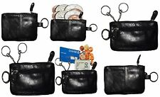 Lot of 6 Leather change purse,Black Zip coin wallet 2 pocket coin case key ring