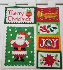 Vintage Christmas Santa Felt Applique Sequin Wall Hanging Card Holder Finished
