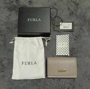 Women's Furla Leather Classic Credit Card Wallet Holder Grey Beige ~ NEW IN BOX