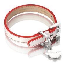Hennessy & Sons Luxury Leather Dog Collar ~ Polo Red & White ~ Small ~ NIB