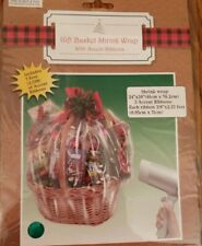 Gift Basket Clear Shrink Wrap 24 in. x 30 in. With 3 Accent Ribbons Christmas